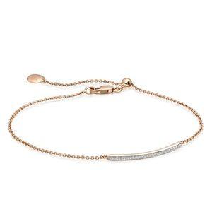 Monica Vinader Skinny Diamond Bar Bracelet in Gold